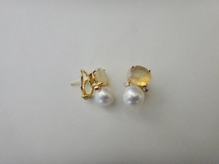 Michael Kneebone Ethiopian Opal White Diamond Cultured Pearl Earrings For Sale 3
