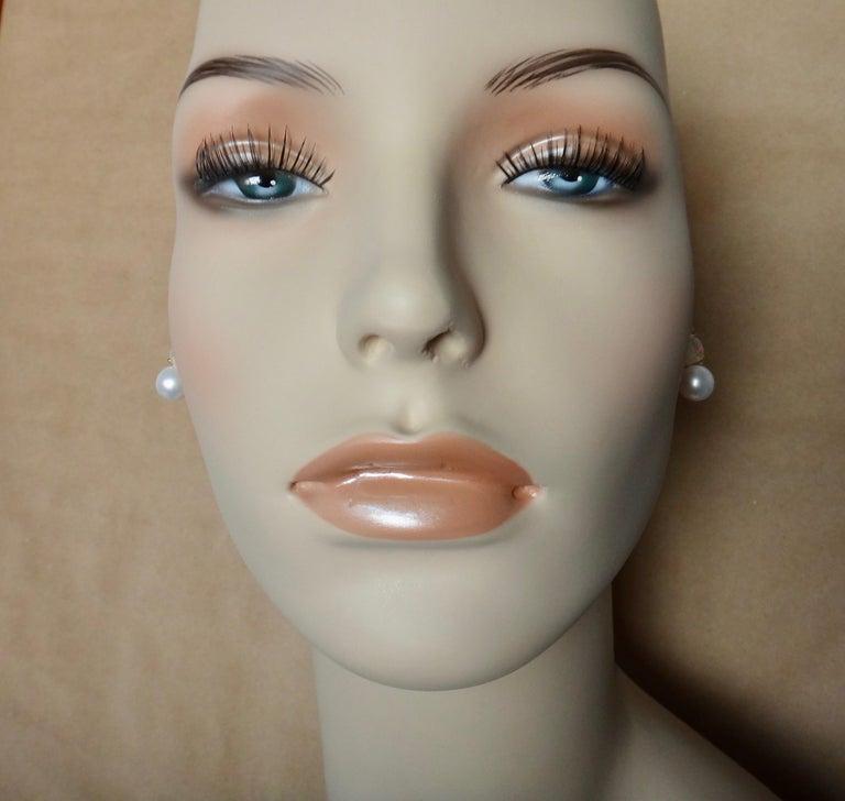 Michael Kneebone Ethiopian Opal White Diamond Cultured Pearl Earrings For Sale 4