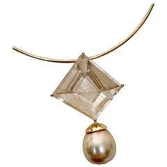 Michael Kneebone Fantasy Cut Rutile Quartz Golden South Seas Pearl Pendant