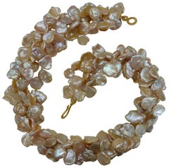 Michael Kneebone Four Strand Petal Pearl Gold Bead Torsade Necklace