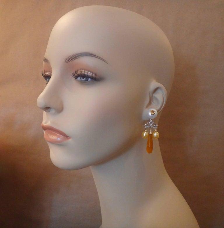 Michael Kneebone Golden Chalcedony Yellow Sapphire Pearl Diamond Dangle Earrings In Excellent Condition In Austin, TX