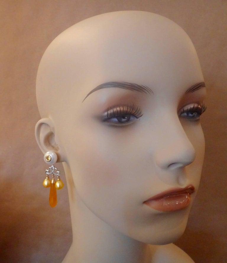 Women's Michael Kneebone Golden Chalcedony Yellow Sapphire Pearl Diamond Dangle Earrings