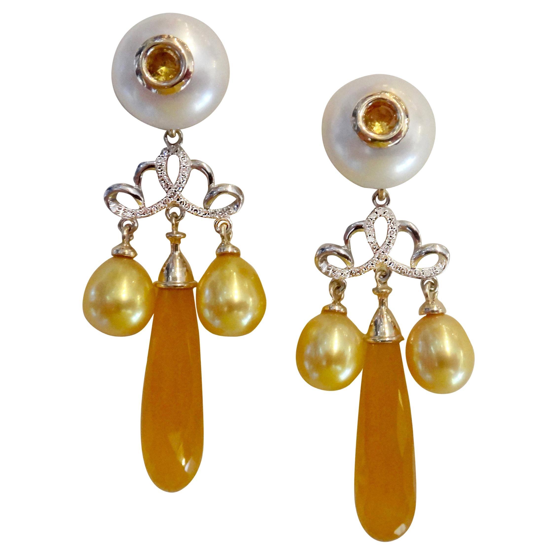 Michael Kneebone Golden Chalcedony Yellow Sapphire Pearl Diamond Dangle Earrings