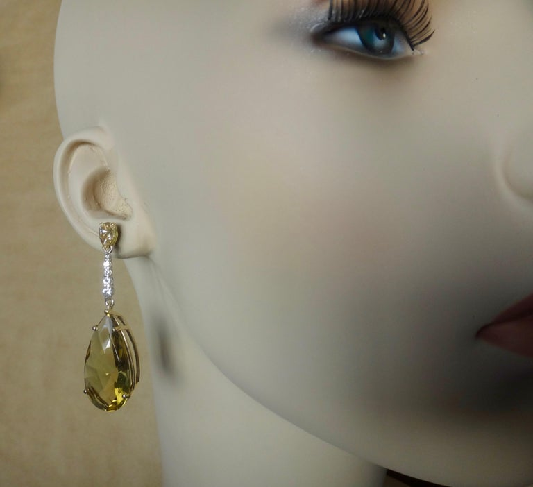 Michael Kneebone Golden Zircon Diamond Lemon Citrine Dangle Earrings For Sale 5