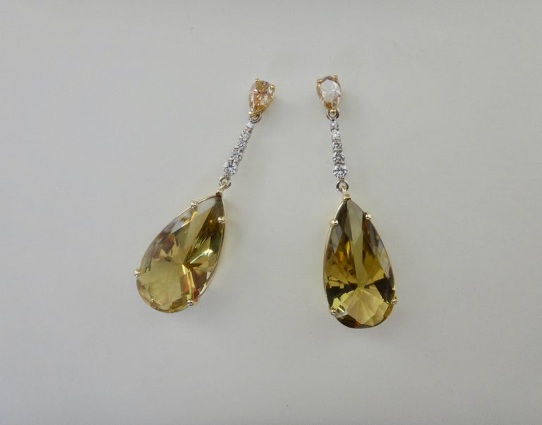 Contemporary Michael Kneebone Golden Zircon Diamond Lemon Citrine Dangle Earrings For Sale