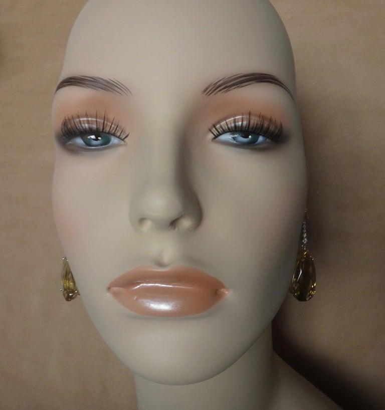 Michael Kneebone Golden Zircon Diamond Lemon Citrine Dangle Earrings In New Condition For Sale In Palm Desert, CA