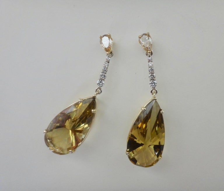 Women's Michael Kneebone Golden Zircon Diamond Lemon Citrine Dangle Earrings For Sale