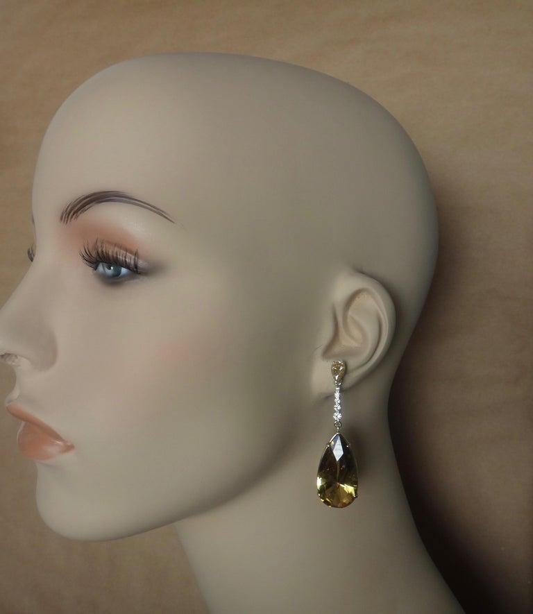 Michael Kneebone Golden Zircon Diamond Lemon Citrine Dangle Earrings For Sale 1