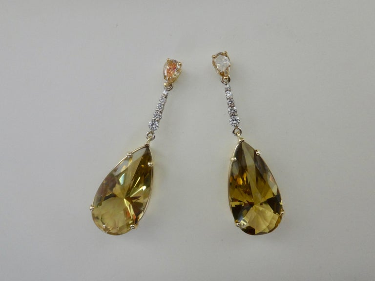 Michael Kneebone Golden Zircon Diamond Lemon Citrine Dangle Earrings For Sale 2