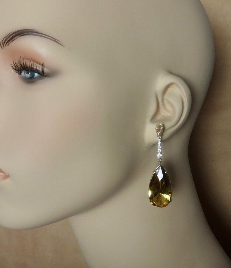 Michael Kneebone Golden Zircon Diamond Lemon Citrine Dangle Earrings For Sale 3