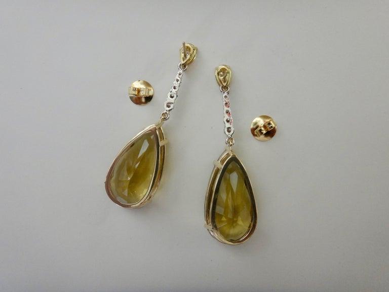 Michael Kneebone Golden Zircon Diamond Lemon Citrine Dangle Earrings For Sale 4