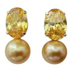 Michael Kneebone Golden Zircon Golden South Seas Pearl Drop Earrings