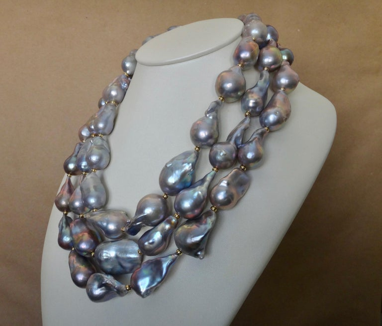 Michael Kneebone Gray Cloud Pearl Triple Strand Baroque Pearl Necklace In New Condition For Sale In Rancho Mirage, CA