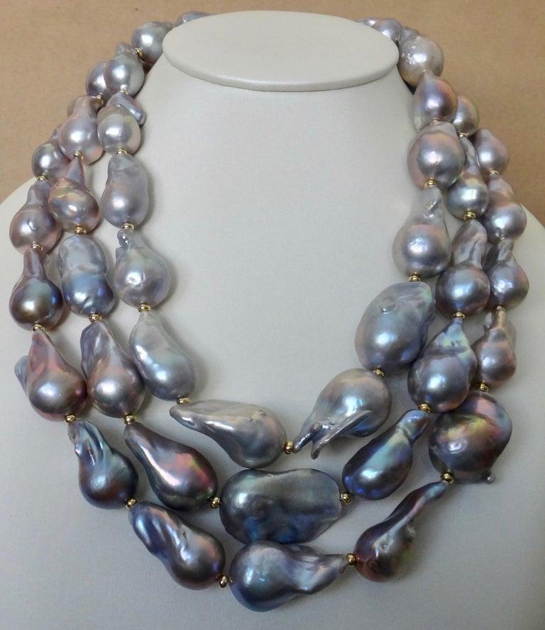 Michael Kneebone Gray Cloud Pearl Triple Strand Baroque Pearl Necklace For Sale 1