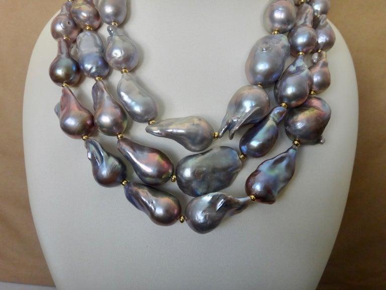 Michael Kneebone Gray Cloud Pearl Triple Strand Baroque Pearl Necklace For Sale 2
