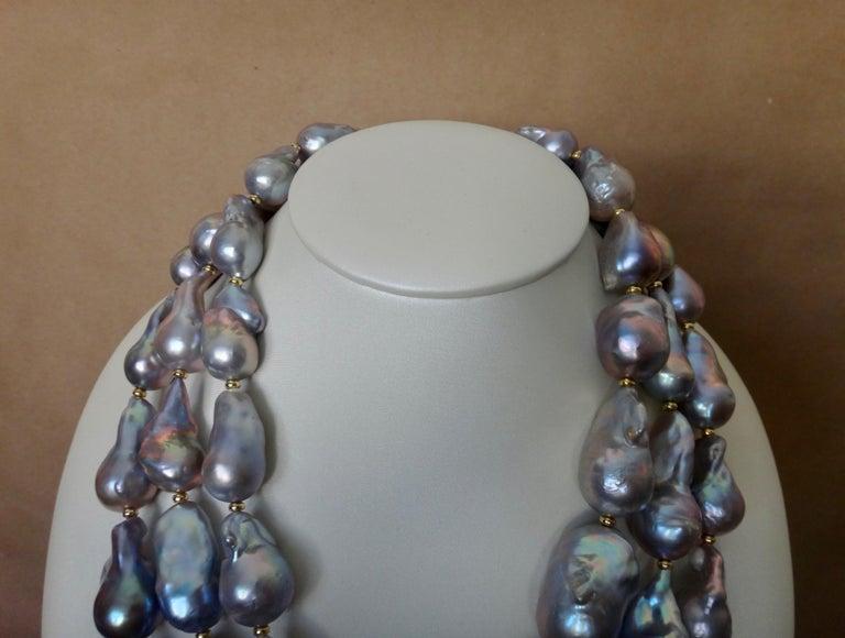 Michael Kneebone Gray Cloud Pearl Triple Strand Baroque Pearl Necklace For Sale 3