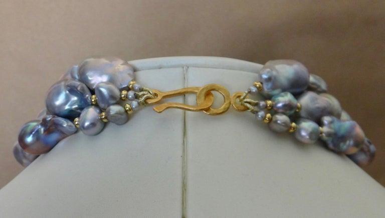 Michael Kneebone Gray Cloud Pearl Triple Strand Baroque Pearl Necklace For Sale 4