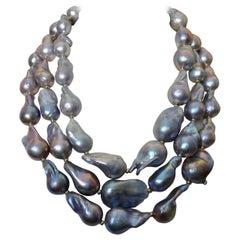 Michael Kneebone Gray Cloud Pearl Triple Strand Baroque Pearl Necklace