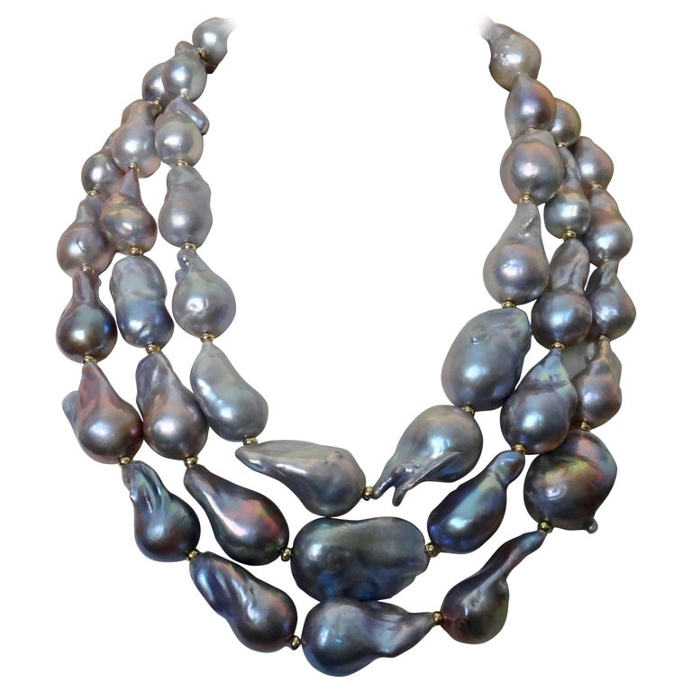 Michael Kneebone Gray Cloud Pearl Triple Strand Baroque Pearl Necklace For Sale
