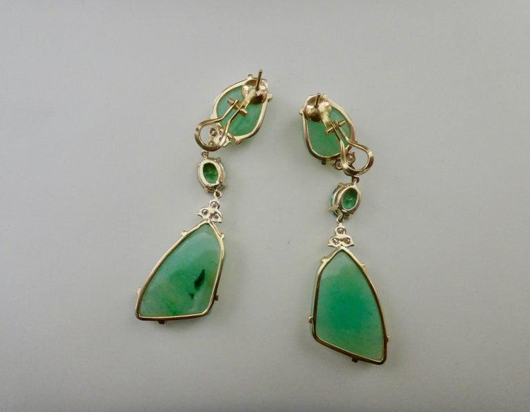 Michael Kneebone Green Beryl Green Topaz Diamond Dangle Earrings For Sale 5