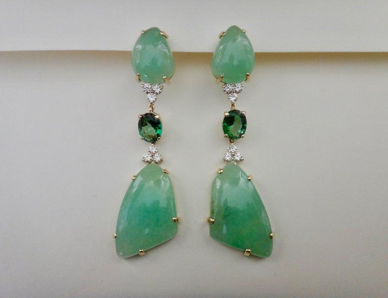 Contemporary Michael Kneebone Green Beryl Green Topaz Diamond Dangle Earrings For Sale
