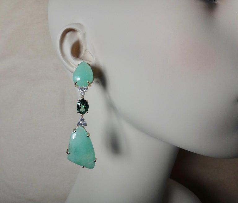 Michael Kneebone Green Beryl Green Topaz Diamond Dangle Earrings In New Condition For Sale In Rancho Mirage, CA