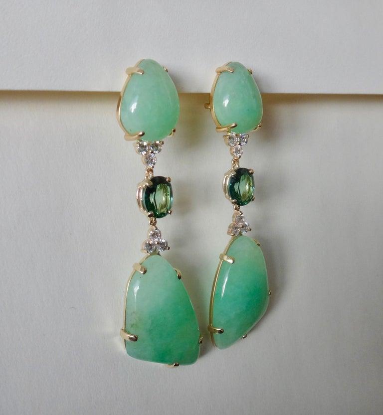 Women's or Men's Michael Kneebone Green Beryl Green Topaz Diamond Dangle Earrings For Sale