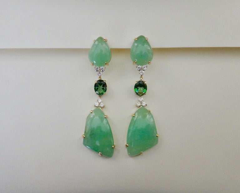 Michael Kneebone Green Beryl Green Topaz Diamond Dangle Earrings For Sale 1