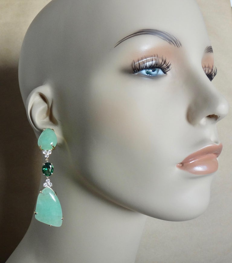 Michael Kneebone Green Beryl Green Topaz Diamond Dangle Earrings For Sale 2