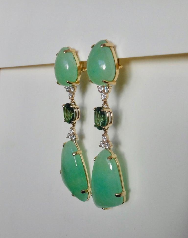 Michael Kneebone Green Beryl Green Topaz Diamond Dangle Earrings For Sale 3