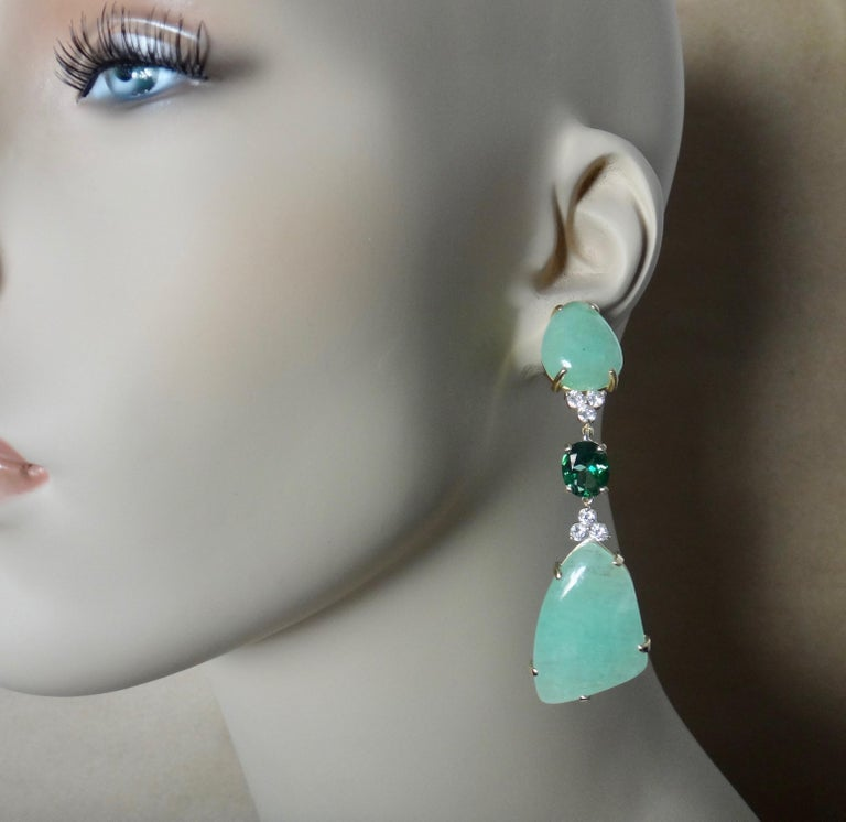 Michael Kneebone Green Beryl Green Topaz Diamond Dangle Earrings For Sale 4
