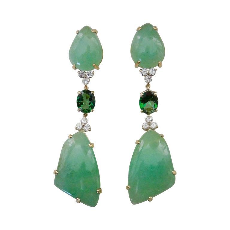Michael Kneebone Green Beryl Green Topaz Diamond Dangle Earrings For Sale