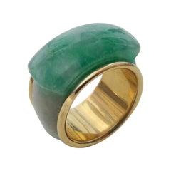 Michael Kneebone Green Burmese Jadeite 18 Karat Gold Saddle Ring