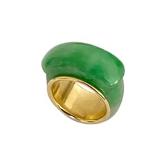 Michael Kneebone Green Burmese Jadeite 18k Yellow Gold Saddle Ring