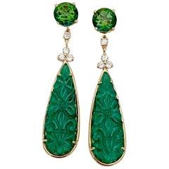 Michael Kneebone Green Topaz Diamond Green Onyx Dangle Earrings