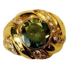 Michael Kneebone Green Zircon Pave Diamond 18 Karat Gold Dome Ring