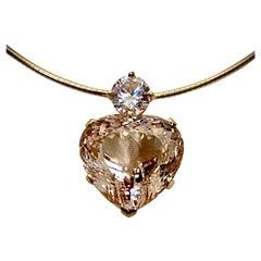 Michael Kneebone Heart Shaped Champagne Topaz White Sapphire Pendant