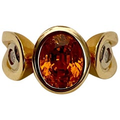 Michael Kneebone Hessonite Garnet White Diamond Three-Stone Ring
