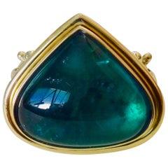 Michael Kneebone Indicolite Tourmaline Cabochon Diamond Cocktail Ring