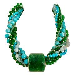 Michael Kneebone Jadeite Archer's Ring Multi Gemstone Bead Torsade Necklace