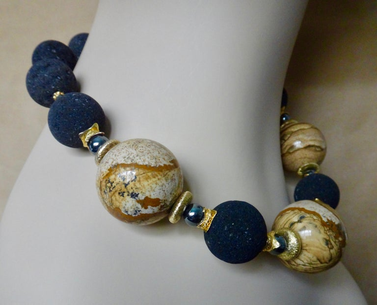 Michael Kneebone Jasper Lava Rock Hematite Bead Necklace In New Condition For Sale In Palm Desert, CA