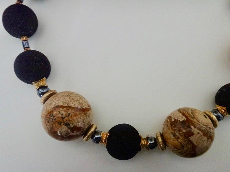 Women's Michael Kneebone Jasper Lava Rock Hematite Bead Necklace For Sale