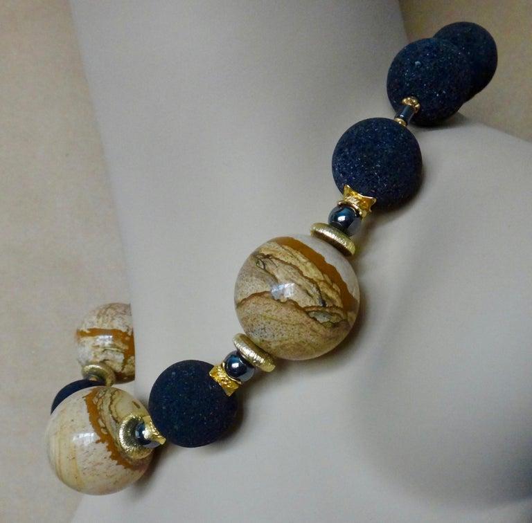 Michael Kneebone Jasper Lava Rock Hematite Bead Necklace For Sale 1