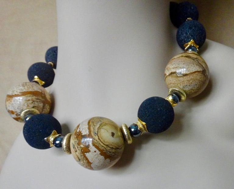 Michael Kneebone Jasper Lava Rock Hematite Bead Necklace For Sale 2