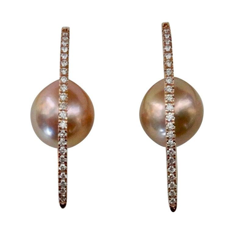 """Michael Kneebone Kasumi Pearl Diamond Rose Gold """"Broken Hoop"""" Earrings For Sale"""