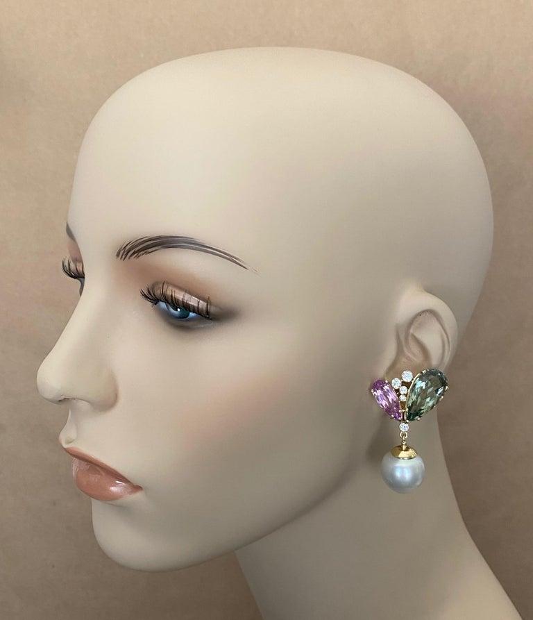 Michael Kneebone Kunzite Hiddenite Diamond South Seas Pearl Dangle Earrings 4