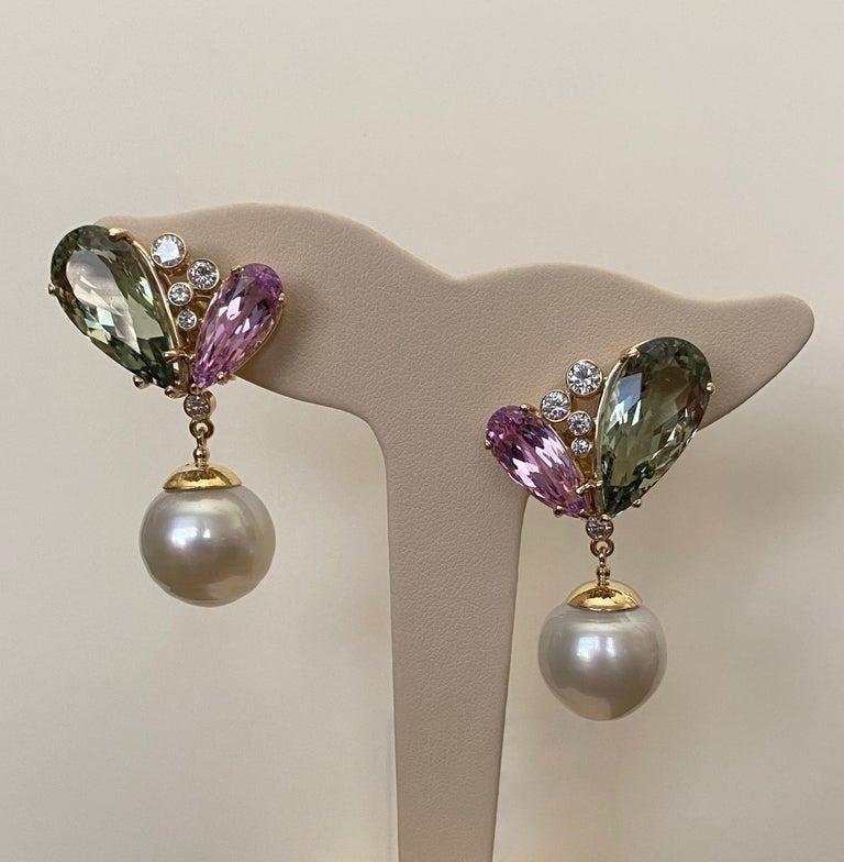 Michael Kneebone Kunzite Hiddenite Diamond South Seas Pearl Dangle Earrings 5
