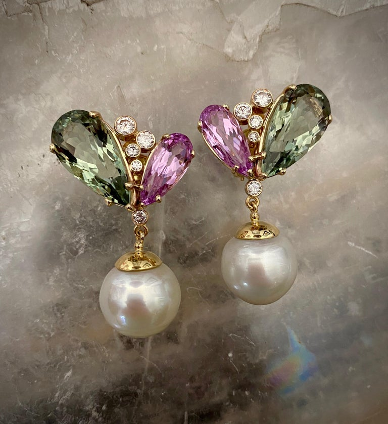Contemporary Michael Kneebone Kunzite Hiddenite Diamond South Seas Pearl Dangle Earrings