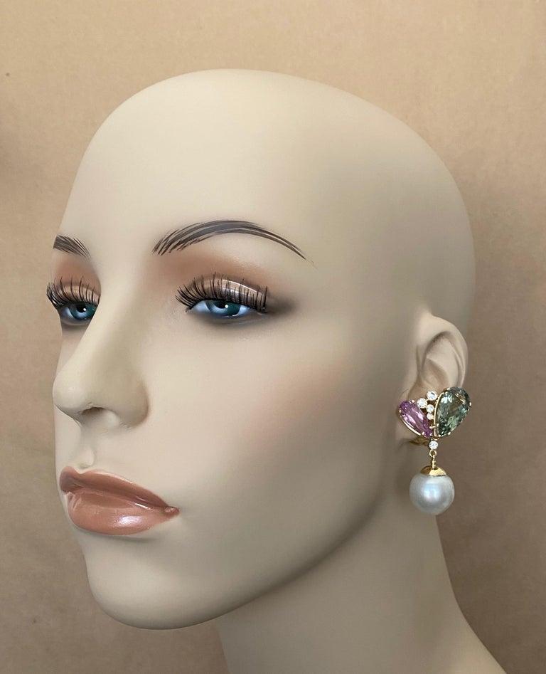 Mixed Cut Michael Kneebone Kunzite Hiddenite Diamond South Seas Pearl Dangle Earrings