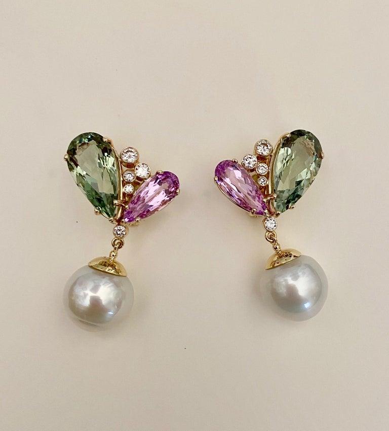 Michael Kneebone Kunzite Hiddenite Diamond South Seas Pearl Dangle Earrings In New Condition In Austin, TX